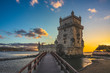 canvas print picture - belem tower in belem district of lisbon at dusk