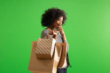 Excited Black Female Out Shopp...