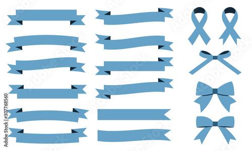 Leinwand Poster リボン セット シンプル 青