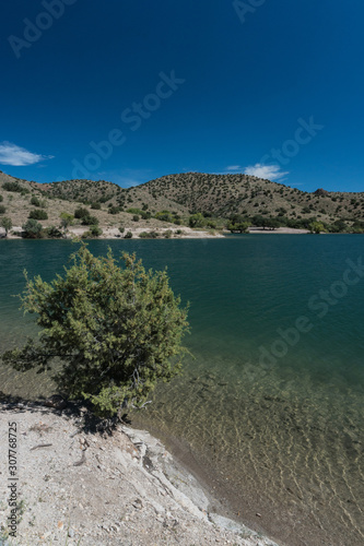 Платно Vertical of Bill Evans Lake view in  New Mexico near Silver City.