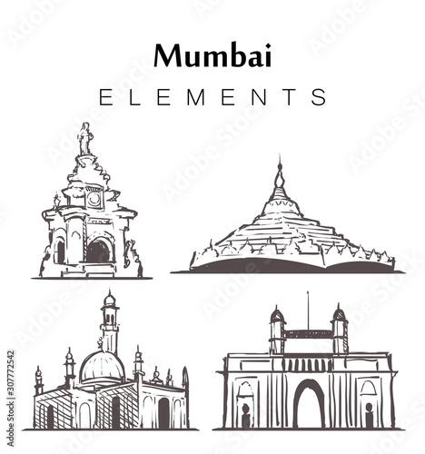 Set of hand-drawn Mumbai buildings, elements sketch vector illustration Canvas Print