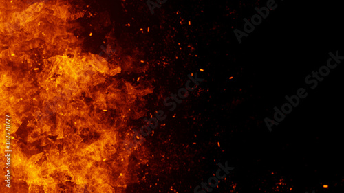 Texture of burn fire with particles embers. Flames on isolated black background. Texture for banner,flyer,card . - 307778727