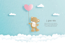Valentines Card With Cute Tedd...