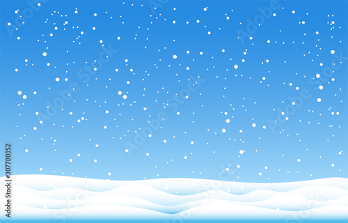 Recess Fitting Blue sky Snowflakes and Winter background, Winter landscape,vector design