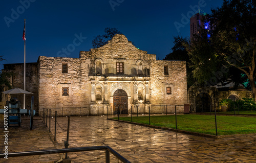 View of the Alamo Mission in San Antonio at Night with Canon on the Side Wallpaper Mural