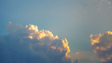 Dramatic Blue Sky And Clouds At Sunset Or Evening Time.
