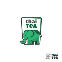 Thai Tea Logo With Green Elephant And Cup Concept