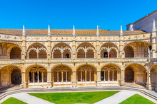 Courtyard Of The Mosteiro Dos Jeronimos At Belem, Lisbon, Portugal