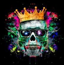 Evil Skull Colorful Art Illust...
