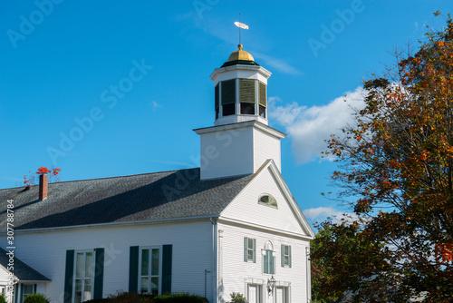 First Church of Merrimack on 7 Baboosic Lake Rd in fall in Merrimack, New Hampshire, USA.