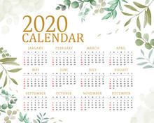 2020 Calendar With Floral Leaves Background