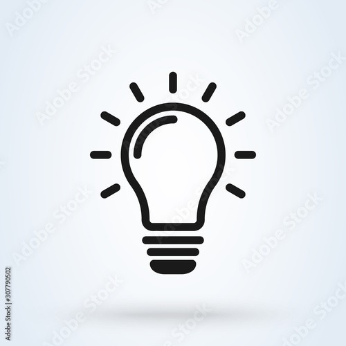 Photo invention and light bulb, Simple modern icon design illustration.