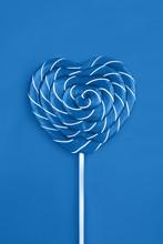 Lollipop On Blue Background. T...