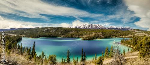 Fototapeta Panorama of Emerald Lake, It is located in the Yukon Territory of Canada. obraz