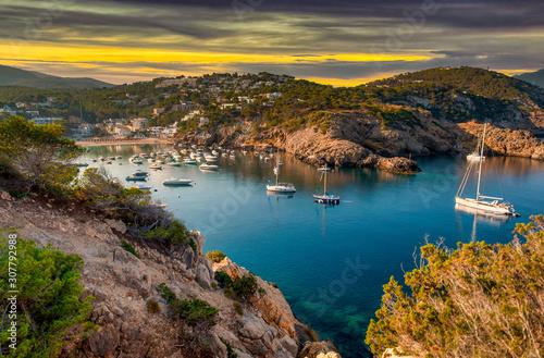 Cala Vedella Vadella in Sant Josep at Balearic Islands. Ibiza, Spain.