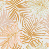 Luxurious botanical tropical leaf background in pastel pink and gold colors. - 307793926