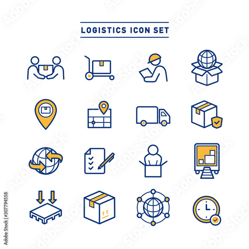 Cuadros en Lienzo  LOGISTICS ICON SET
