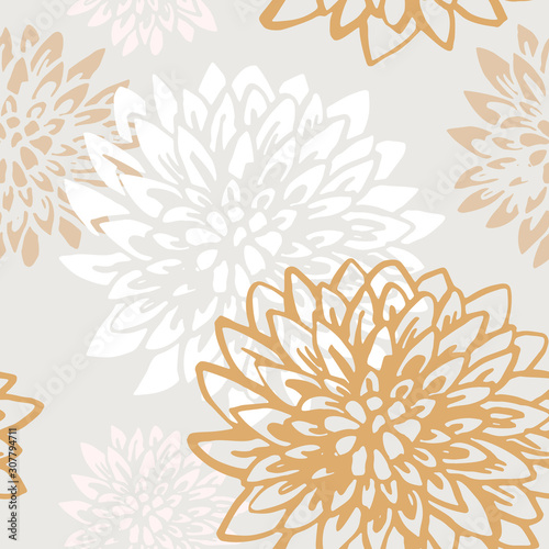 Abstract chrysanthemum flowers seamless pattern. Wallpaper Mural