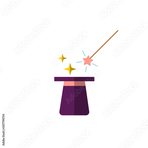Vector flat design, illustration of magic black hat with magic wand and magical glow light stars sparkles isolated on white background Canvas Print