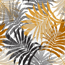 Hand Drawn Silhouettes, Line Art, Half Tones Of Palm Leaves Background For Textile, Fabric, Wallpaper