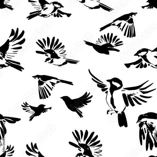 obraz lub plakat Hand drawn silhouettes of flying birds seamless pattern. Animal illustration in black and white colors.