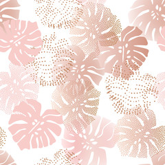 Fototapeta Liście Monochrome tropical gradient and dotted leaves with optical distorted half tone background