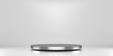 Silver Pedestal Of Platform Display With Luxury Stand Podium On White Room Background. Blank Exhibition Or Empty Product Shelf. 3D Rendering.