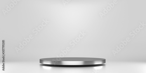 Fotografía Silver pedestal of platform display with luxury stand podium on white room background
