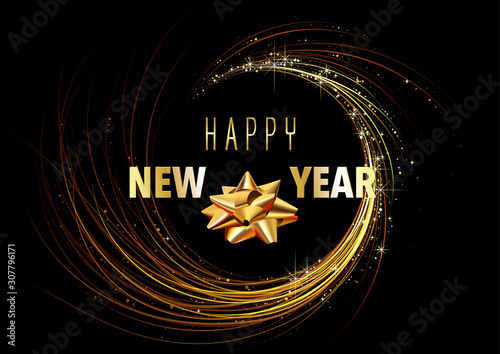 Happy New Year Greeting Card with Golden Spiral on Black Background - Modern Abs Canvas-taulu