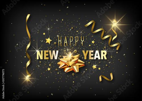 Valokuva Luxury Happy New Year Greeting Card with Golden Decoration on Black Background -