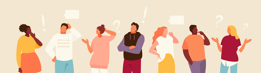 Set of puzzled and surprised office people. Problem solving and discussion. Vector flat illustration
