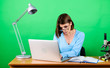 canvas print picture - Searching information. Girl pretty attractive student with laptop. Modern student girl. Education concept. Student life. High school education. Online remote classes. Teacher preparing for lesson