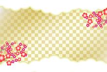 梅の花と金色の市松模様(格子柄)