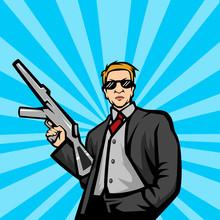 Gangster With Machine Gun Pop Art Style Vector Illustration