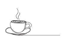 Coffee Cup ,line Drawing Style, Vector Design