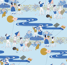 Vector Seamless Background Illustration Of Korean Town Kids. The Modern Design Of Korea. Design For Fabric, Web Design, Print Project, And Rapping