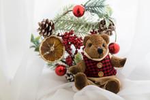 Merry Christmas Card Teddy Bear And New Year Wreath