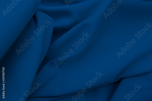 Obraz blue fabric texture, background. folds close up. - fototapety do salonu