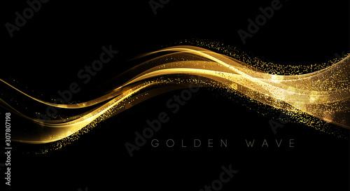Fotografiet Abstract shiny color gold wave design element