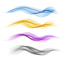 Set Of Color Abstract Wave Des...