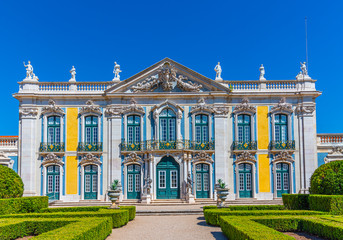View of the national palace of Queluz in Lisbon, Portugal