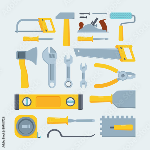 Wall Murals F1 Engineer construction tools and instruments flat illustration set