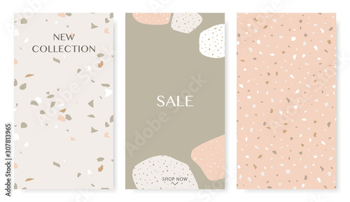 Stories templates with trendy terrazzo collage shapes in pastel colors. Perfect for social media, flyer, card and brochure design.