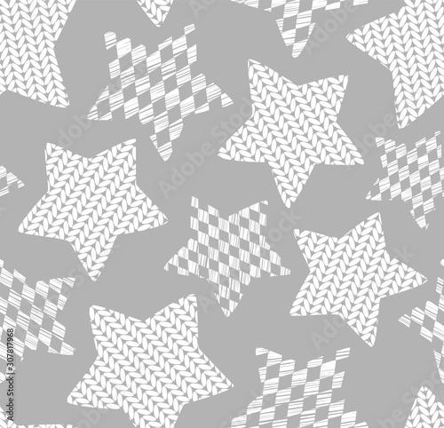 Fototapeta Gwiazdki  knitted-stars-seamless-pattern-gray-monochrome-vector-effect-of-knitted-fabric-vintage