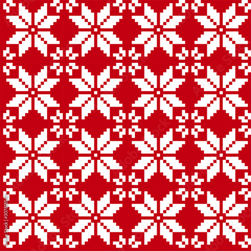 Valokuvatapetti Christmas Fair isle Floral Seamless Print Background in Vector - It is a fair isle floral pattern suitable for backgrounds, print designs, fashion textiles, knitwear and etc