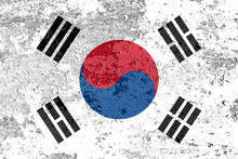 National Flag Of South Korea With Texture. Template For Design