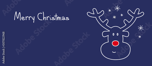 merry christmas reindeer banner Canvas Print