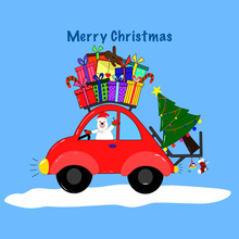 Draw Funny Bear Driving Car That Carries Gifts For Christmas Day And New Year Day, Holiday Concept, Hand Draw Doodle Cartoon Style.