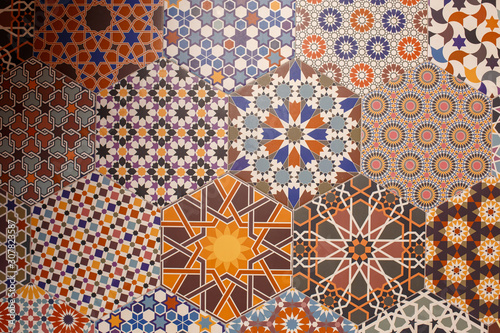 Fotografiet Ceramic tiles texture and background, hexagonal patterns