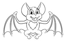 A Cute Halloween Bat Cartoon C...